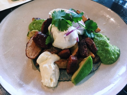 PAPAS CON CHORIZO poached egg, tortilla, potatoes, chorizo, salsa verde