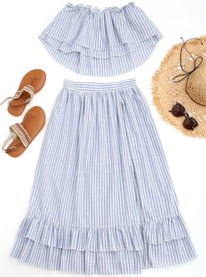 blue and white stripe shorts and top