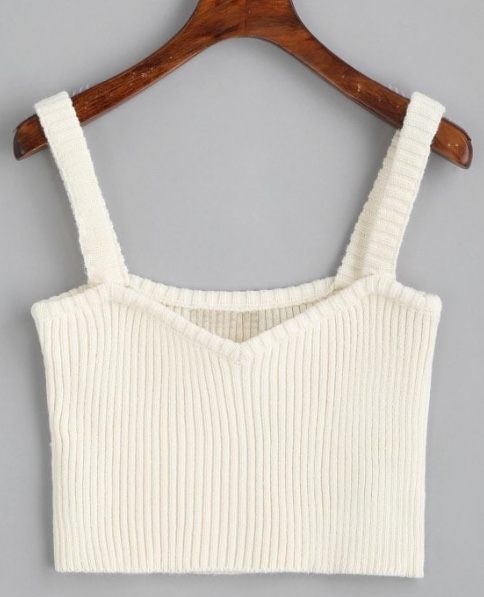 Knitted Cropped Ribbed Tank Top
