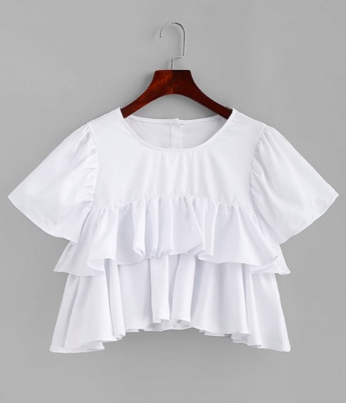 A Line Tiered Ruffles Crop Top