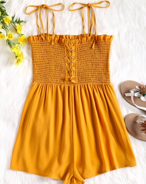 Cami Lace Up Smocked Romper