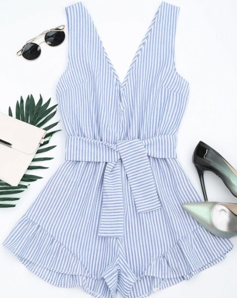Plunging Neck Belted Striped Romper