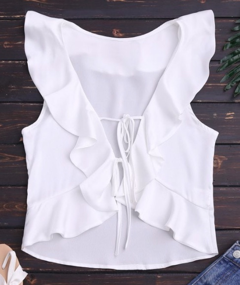 Front Tie Ruffles Cropped Tank Top