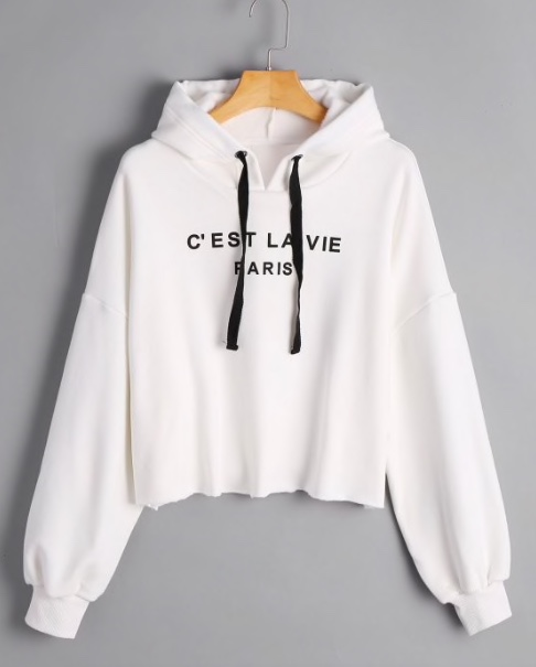 Cropped French Paris Print Hoodie
